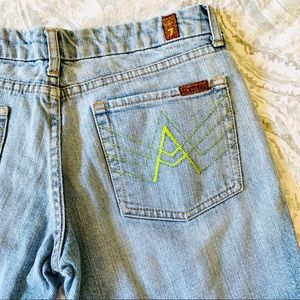 """7 For All Mankind Green """"A"""" Pocket Denim Jeans"""